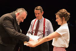 © Licensed to London News Pictures. 01/07/2015. London, UK. L-R: John Hodgkinson as Orson Wells, Adrian Lukis as Laurence Olivier and Louise Ford as Joan Plowright. Photocall for the European Premiere of Orson's Shadow by Austin Pendleton at the Southwark Playhouse. The comedy, based on true events as Orson Wells and Laurence Olivier work together for the first time, runs from 1 to 25 July 2015. Photo credit : Bettina Strenske/LNP