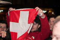 Simon Ammann celebrates his gold medal win in the ski jump at the 2010 Olympic Winter Games at Whistler, BC Canada