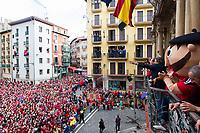 Osasuna's supporters during the celebration for promotion to La Liga BBVA on the city hall square Pamplona . 19,06,2016. (ALTERPHOTOS/Rodrigo Jimenez)