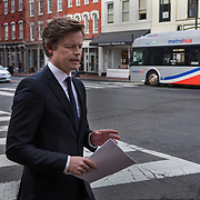 WASHINGTON, DC - MAR7: Caspar Phillipson, the Danish actor who played JFK in the recent movie Jackie, prepares to reenact some of President Kennedy's most famous speeches, at Martin's Tavern in Georgetown, March 7, 2017. (Photo by Evelyn Hockstein/For The Washington Post)