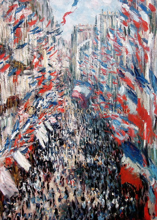 The Rue  Montorgueil in Paris. Celebration of June 30, 1878', 1878. Oil on canvas. Claude Monet (1840-1926) French painter. Crowded street viewed from a high window, scene dominated by red, white and blue of French tricoleur.