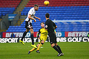 Bolton's Gary Madine heads the ball during the EFL Sky Bet Championship match between Bolton Wanderers and Burton Albion at the Macron Stadium, Bolton, England on 16 December 2017. Photo by John Potts.