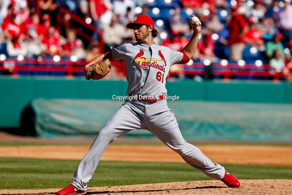 Mar 8, 2013; Melbourne, FL, USA; St. Louis Cardinals starting pitcher Kevin Siegrist (61) throws against the Washington Nationals during the bottom of the fourth inning of a spring training game at Space Coast Stadium. Mandatory Credit: Derick E. Hingle-USA TODAY Sports