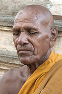 Close up of a buddhist monk in meditation