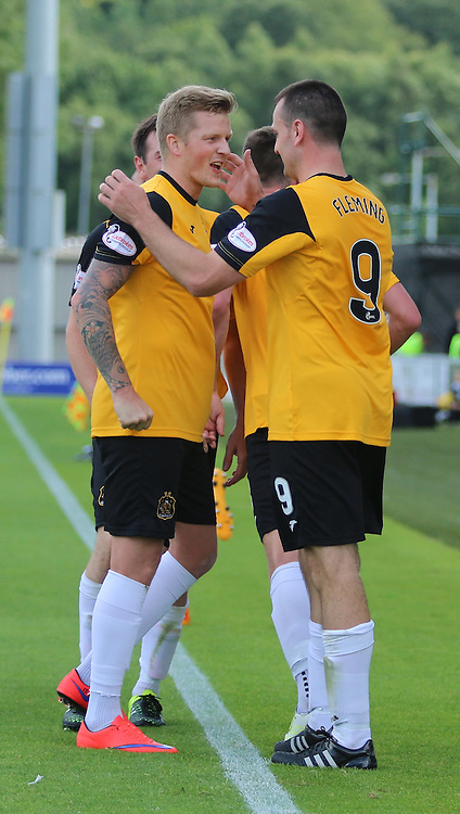 Both goal scorers together after Gary scores  during the St Mirren FC V Dumbarton FC Scottish Championship 12th August 2015<br /> <br /> (c) Andy Scott | SportPix.org.uk