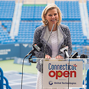 June 9, 2015, New Haven, CT:<br /> Tournament Director Anne Worcester speaks during a press conference at the Connecticut Tennis Center to announce the new Connecticut Open 50/50 Project and the renewal of United Technologies sponsorship of the tournament through the 2017 in New Haven, Connecticut Tuesday, June 9, 2015.<br /> (Photo by Billie Weiss/Connecticut Open)