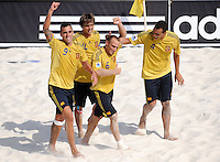 FIFA BEACH SOCCER WORLD CUP 2008 ARGENTINA - SPAIN  24.07.2008 NICO (2nd from right) celebrates goal with Javier TORRES, AMARELLE and Cristian TORRES (ESP, l-r).