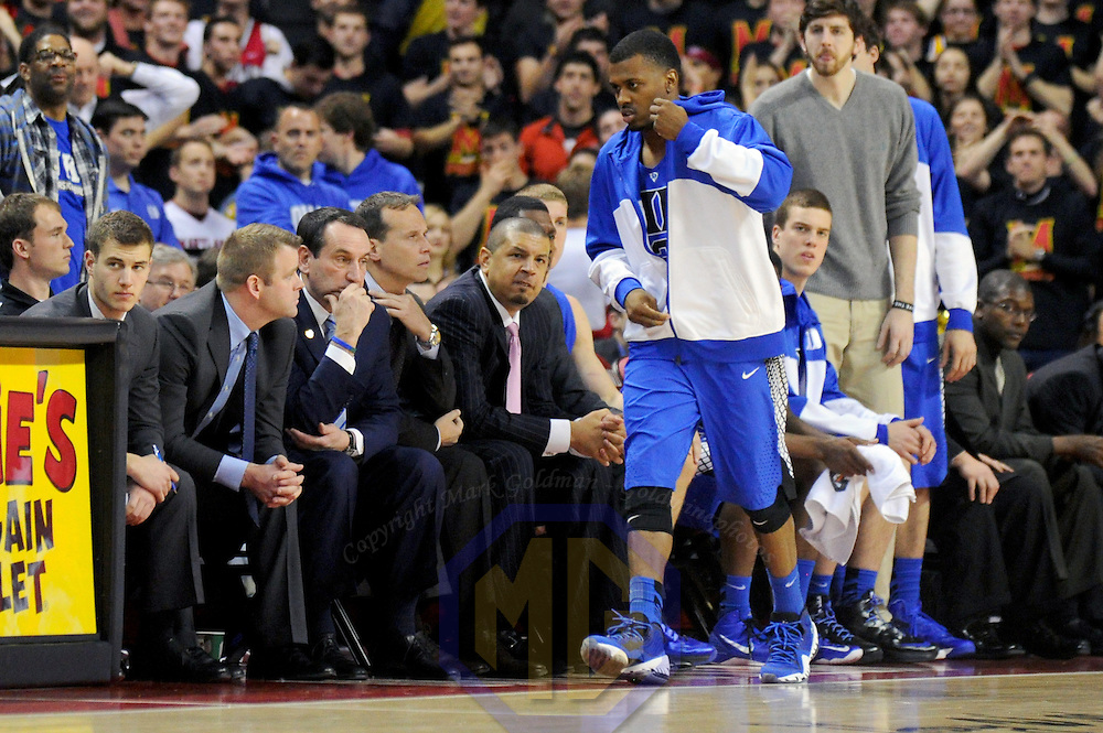 16 February 2013:   Duke Blue Devils head coach Mike Krzyzewski sits on the bench during the game against the Maryland Terrapins at the Comcast Center in College Park, MD. where the Maryland Terrapins upset the second ranked Duke Blue Devils, 83-81.