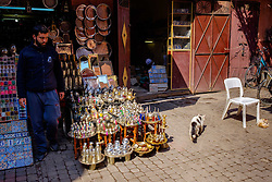 A man stands outside his shop in one of the narrow souks in the Medina in Marrakech, Morocco, North Africa<br /> <br /> <br /> <br /> (c) Andrew Wilson   Edinburgh Elite media