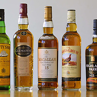 Bottles of Cutty Sark, Glengoyne,Macallan, Famous Grouse and Highland Park Whisky<br /><br />Picture by Graeme Hart.<br />Copyright Perthshire Picture Agency<br />Tel: 01738 623350  Mobile: 07990 594431