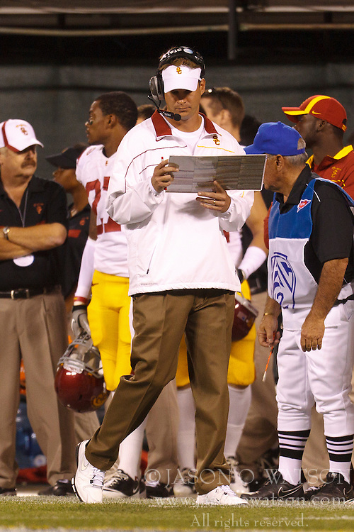 Oct 13, 2011; San Francisco CA, USA;  Southern California Trojans head coach Lane Kiffin on the sidelines against the California Golden Bears during the second quarter at AT&T Park.  Mandatory Credit: Jason O. Watson-US PRESSWIRE