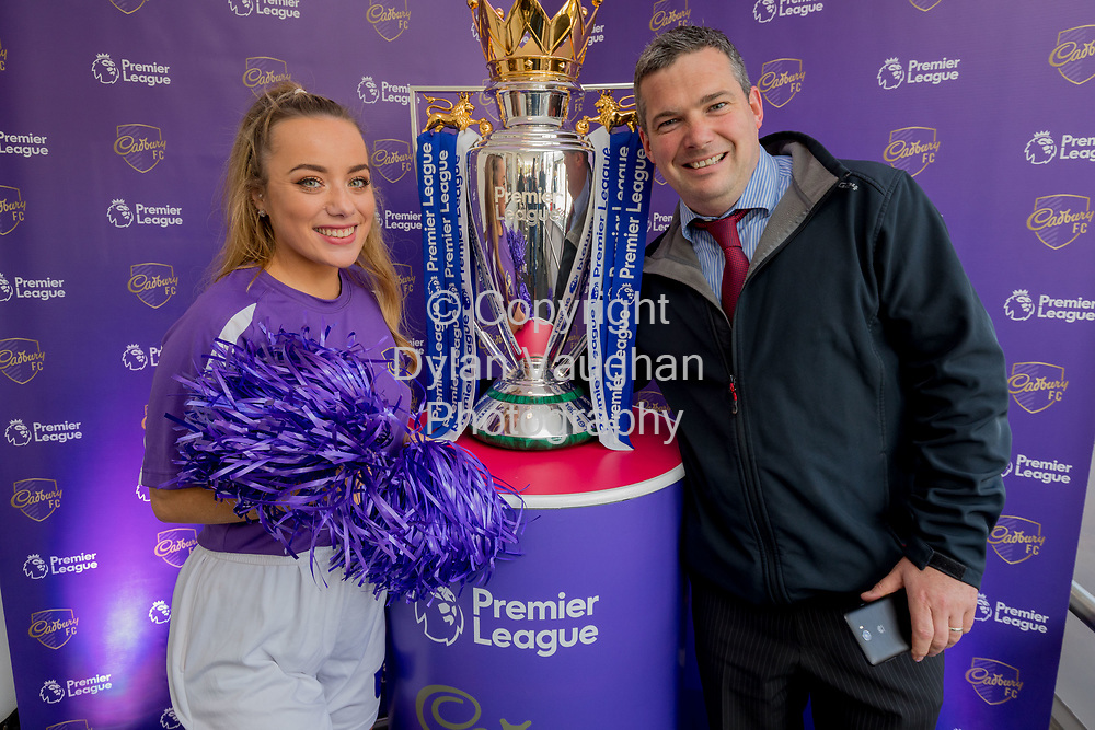 Repro Free No Charge for Repro<br /> <br /> 5/10/17<br /> The Premier League trophy came to SuperValu, Loughboy thanks to Cadbury<br /> <br /> Football fans gathered from near and far at Supervalu, Loughboy, Co Kilkenny, to catch a glimpse of the Premier League trophy which was brought in-store by Cadbury, Official Snack Partner to the Premier League.  <br /> The 2017/18 Premier League season marks the first year of Cadbury&rsquo;s three-year partnership, which also includes sponsorship of the Premier League Golden Boot and Golden Glove Awards.<br /> <br /> To celebrate their sponsorship Cadbury are offering football fans chances to win lots of prizes, including match tickets, throughout the season through on-pack and in-store competitions. For more information go to www.cadburyfc.com/stadium. <br /> <br /> Pictured is Cadbury cheerleader Ella Scanlan with James Whelan from Rathangan Co. Wicklow.<br /> <br /> Picture Dylan Vaughan