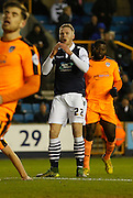 Millwall FC Forward Aiden O'Brien is frustrated by his attempt during the Sky Bet League 1 match between Millwall and Colchester United at The Den, London, England on 21 November 2015. Photo by Andy Walter.