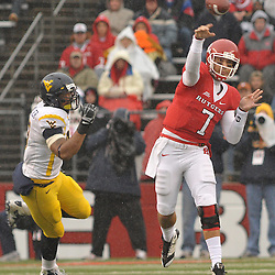 Dec 5, 2009; Piscataway, NJ, USA; Rutgers quarterback Tom Savage (7) throws a pass during first half NCAA Big East college football action between Rutgers and West Virginia at Rutgers Stadium.