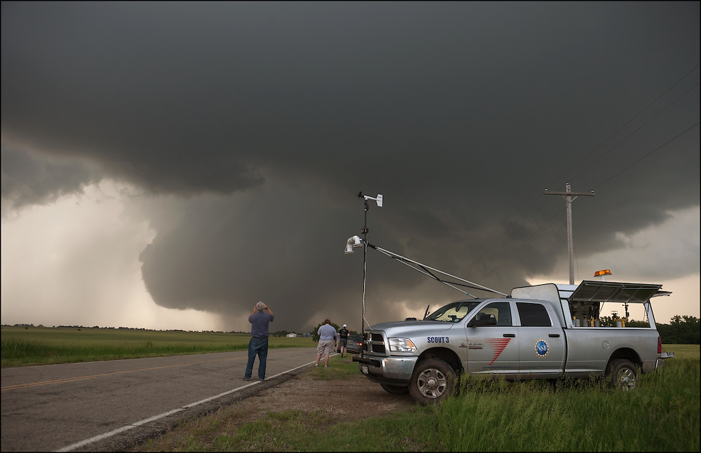 Tim Marshall and his Scout 3 team photographically documenting a tornado near Solomon, Kansas with Pods ready to deploy.