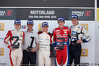 DELETRAZ Louis (SUI) Josef Kaufmann Racing (GER) ambiance portrait podium JORG Kevin (SUI) OLSEN Dennis (NOR) during the 2015 World Series by Renault from April 24th to 26th 2015, at Motorland Aragon, Spain. Photo Jean Michel Le Meur / DPPI.