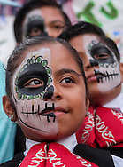 Children with skull face paint in the Day of the Dead celebrations in Los Angeles on Monday, Nov. 1, 2016.(Photo by Ringo Chiu/PHOTOFORMULA.com)<br /> <br /> Usage Notes: This content is intended for editorial use only. For other uses, additional clearances may be required.