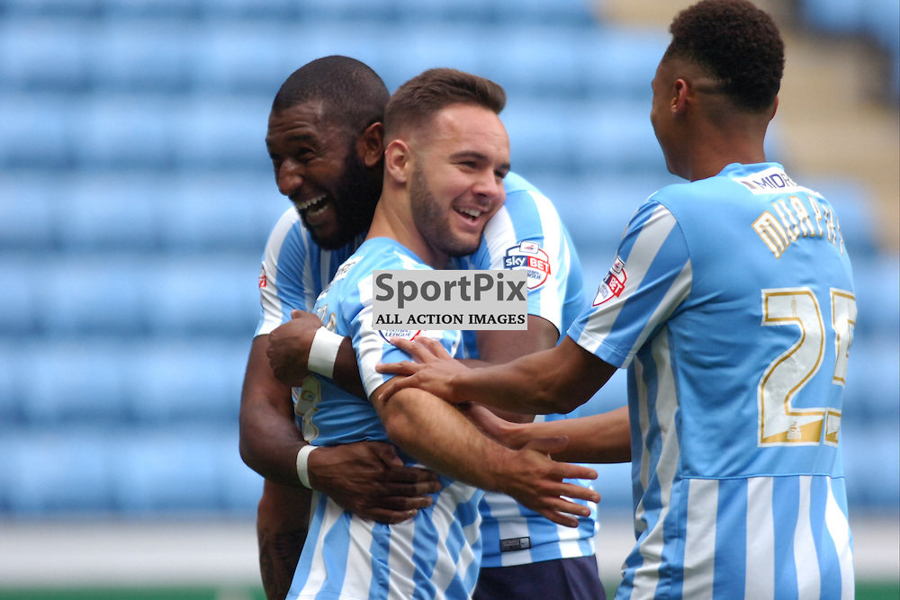 Coventry Celebrate Adam Armstrongs Third Goal, Coventry City v Shreswsbury Ricoh Arena, Football League One, Saturday 3rd October 2015