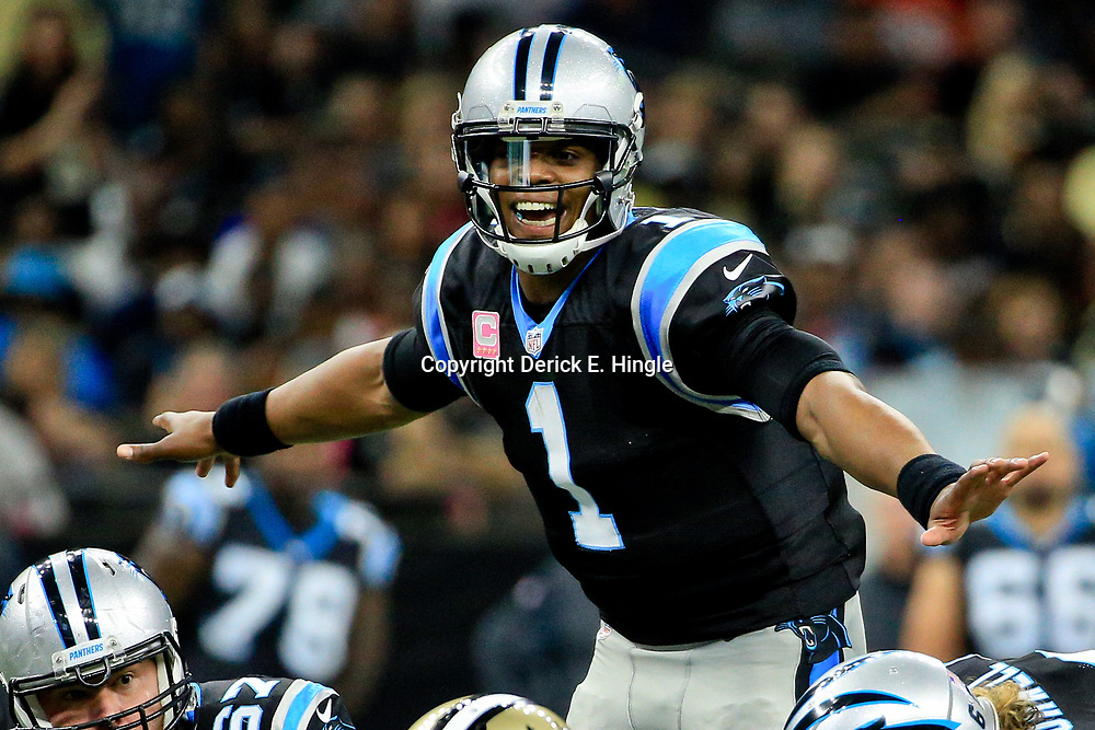 Oct 16, 2016; New Orleans, LA, USA; Carolina Panthers quarterback Cam Newton (1) against the New Orleans Saints during the second quarter of a game at the Mercedes-Benz Superdome. Mandatory Credit: Derick E. Hingle-USA TODAY Sports