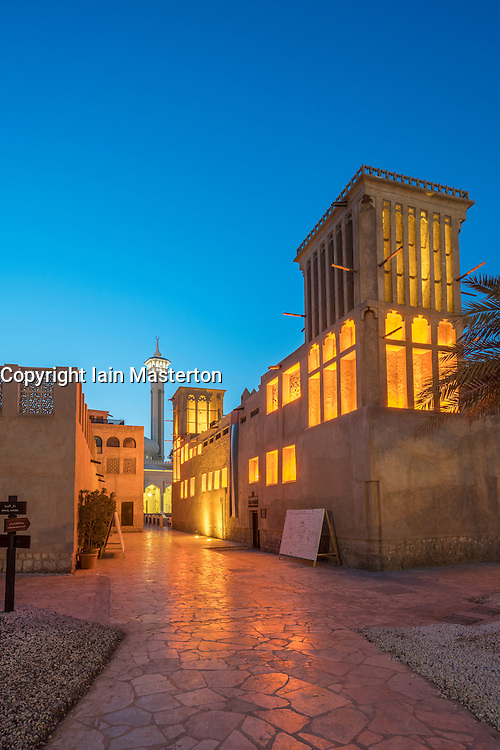 Evening view of Bastakiya in Al Fahidi traditional heritage area in Dubai United Arab Emirates