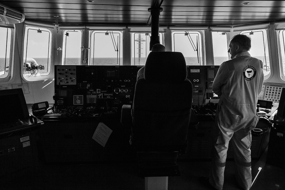 On board the MOAS Responder sailing to S.A.R (Search And Rescue) zone.<br /> Inside the Primary Flight Deck.
