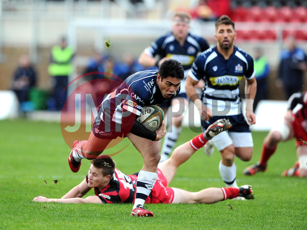 Bristol Rugby Winger David Lemi breaks away to score a try  - Mandatory byline: Joe Meredith/JMP - 05/12/2015 - RUGBY - Billesley Common - Birmingham, England - Moseley v Bristol Rugby - Greene King IPA Championship