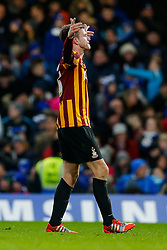 Andrew Halliday of Bradford City celebrates scoring a goal to make it 2-3 after his side trailled 2-0 at one point - Photo mandatory by-line: Rogan Thomson/JMP - 07966 386802 - 24/01/2015 - SPORT - FOOTBALL - London, England - Stamford Bridge - Chelsea v Bradford City - FA Cup Fourth Round Proper.