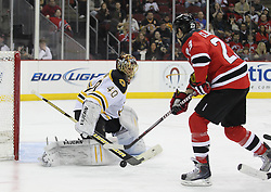 Apr 10; Newark, NJ, USA; Boston Bruins goalie Tuukka Rask (40) makes a save on New Jersey Devils center David Clarkson (23) during the second period of their game at the Prudential Center.