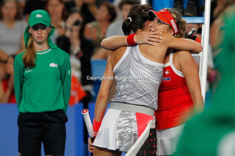 04.01.2017. Perth Arena, Perth, Australia. Mastercard Hopman Cup International Tennis tournament. Belinda Bencic (SUI) hugs Andrea Petkovic (GER) after she won their match in straight sets 6-3, 6-4.