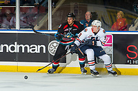KELOWNA, CANADA - SEPTEMBER 22:  Josh Pillar #9 of the Kamloops Blazers skates for the puck on September 22, 2018 at Prospera Place in Kelowna, British Columbia, Canada.  (Photo by Marissa Baecker/Shoot the Breeze)  *** Local Caption ***