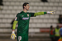 10.02.2013 SPAIN -  La Liga 12/13 Matchday 23th  match played between Rayo Vallecano vs Atletico de Madrid (2-1) at Campo de Vallecas stadium. The picture show Thibaut Courtois (Belgian goalkeeper of At. Madrid)