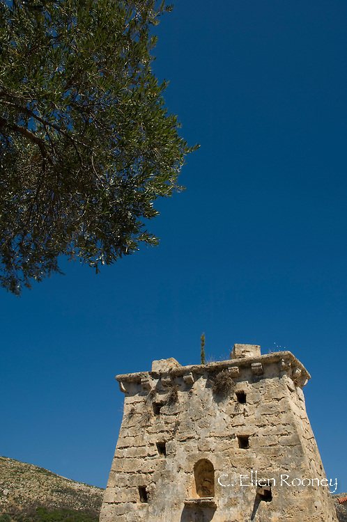 A stone fortress, in Old Skala where most buildings were destroyed in<br /> a 1953 earthquake.  Kefalonia, The Ionian Islands, Greece