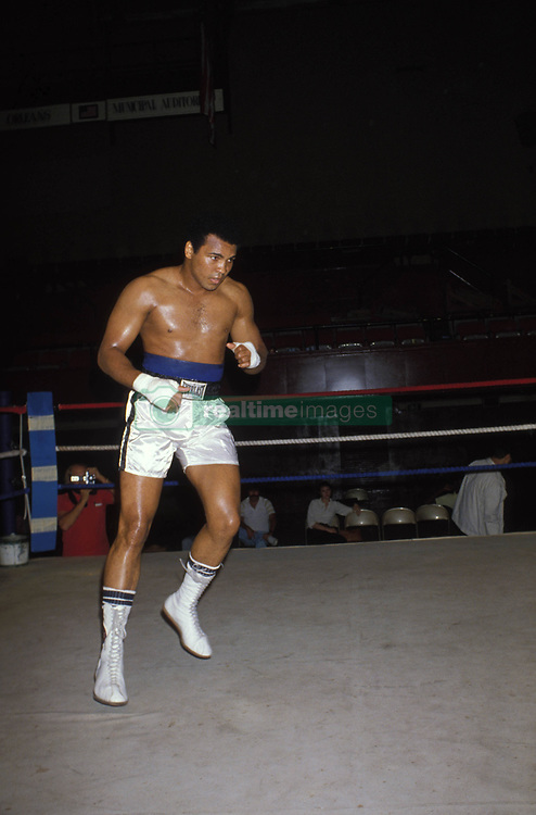June 3, 2016 - File - Muhammad Ali, the three time heavyweight boxing champion, has died at the age of 74. He had been fighting a respiratory illness. Pictured: Sept. 15, 1978 - New Orleans, LA, U.S. - Heavyweight boxer MUHAMMAD ALI warms up before the fight to take back his world champion title that he lost in split decision to LEON SPINKS seven months ago in February 1978. During this fight ALI wins the title for a record third time.  (Credit Image: © Keystone Press Agency/Keystone USA via ZUMAPRESS.com)