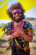 March 26, 2016 - A happy soul dances during Suspended In A Sunbeam Music Festival in the desert of Apple Valley, CA. (Photo by: Foster Snell)
