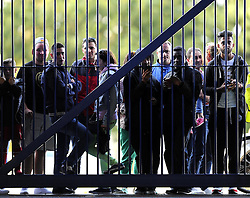 Fans try to watch Real Madrid play at the Cardiff City Stadium - Photo mandatory by-line: Joe Meredith/JMP - Mobile: 07966 386802 11/08/2014 - SPORT - FOOTBALL - Cardiff - Cardiff City Stadium - Real Madrid v Sevilla - UEFA Super Cup - Press Conference and Open Training session