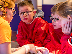 City Arts Centre, Edinburgh, Scotland, United Kingdom, 9 April 2019. Edinburgh Science Festival:  Jamie Carter, age 8 years, and other children have fun learning about blood at the Blood Bar drop in event with Science Communicator Emma at the Science Festival. <br /> <br /> Sally Anderson | EdinburghElitemedia.co.uk