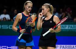 October 26, 2018 - Kallang, SINGAPORE - Kristina Mladenovic of France & Timea Babos of Hungary in action during their doubles quarterfinal match at the 2018 WTA Finals tennis tournament (Credit Image: © AFP7 via ZUMA Wire)