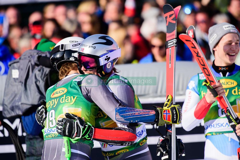 March 9, 2019 - Kranjska Gora, Kranjska Gora, Slovenia - Henrik Kristoffersen and Rasmus Windingstad of Norway celebrating at the Audi FIS Ski World Cup Vitranc on March 8, 2019 in Kranjska Gora, Slovenia. (Credit Image: © Rok Rakun/Pacific Press via ZUMA Wire)
