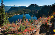 Rachel Lake, Box Canyon, in Alpine Lakes Wilderness, Wenatchee National Forest, Washington, USA. Panorama stitched from 6 images.