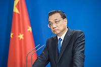 09 JUL 2018, BERLIN/GERMANY:<br /> Li Keqiang, Ministerpraesident der VR China, waehrend einer Pressekonferenz zu den Ergebnissen der Deutsch-Chinesische Regierungskonsultationen, Bundeskanzleramt<br /> IMAGE: 20180709-02-075