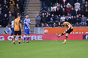 Hull City midfielder Robert Snodgrass (10) takes free kick at goal  during the The FA Cup match between Hull City and Brighton and Hove Albion at the KC Stadium, Kingston upon Hull, England on 9 January 2016. Photo by Ian Lyall.