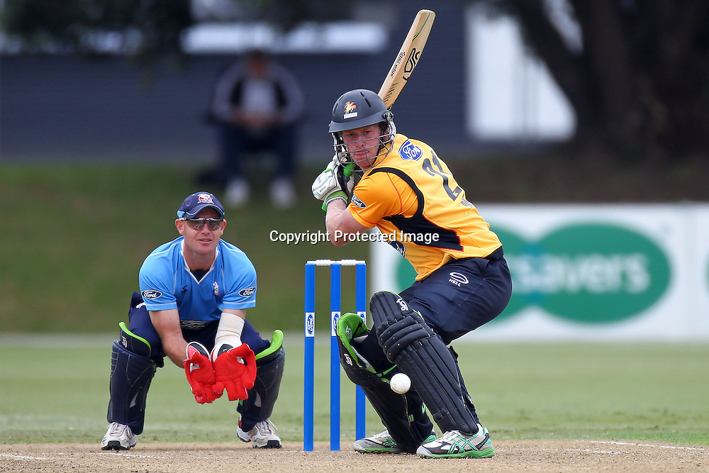 Harry Boam bats during the Ford Trophy match between the Auckland Aces v Wellington Firebirds. Men's domestic 1 day cricket. Colin Maiden Park, New Zealand. Sunday 29 January 2012. Ella Brockelsby / photosport.co.nz