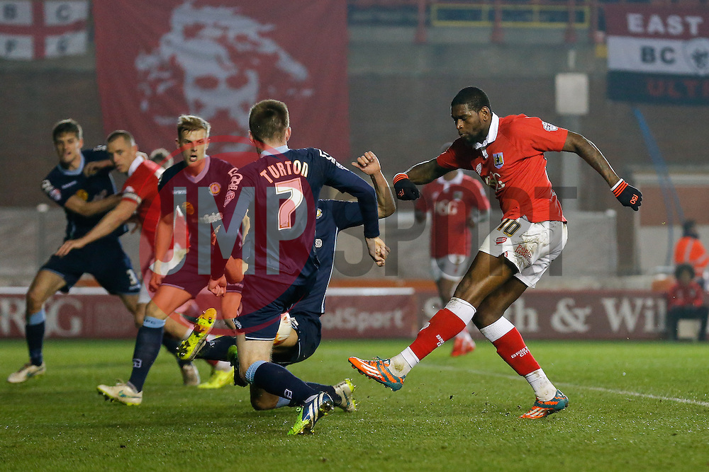 Jay Emmanuel-Thomas of Bristol City shoots - Photo mandatory by-line: Rogan Thomson/JMP - 07966 386802 - 17/03/2015 - SPORT - FOOTBALL - Bristol, England - Ashton Gate Stadium - Bristol City v Crewe Alexandra - Sky Bet League 1.