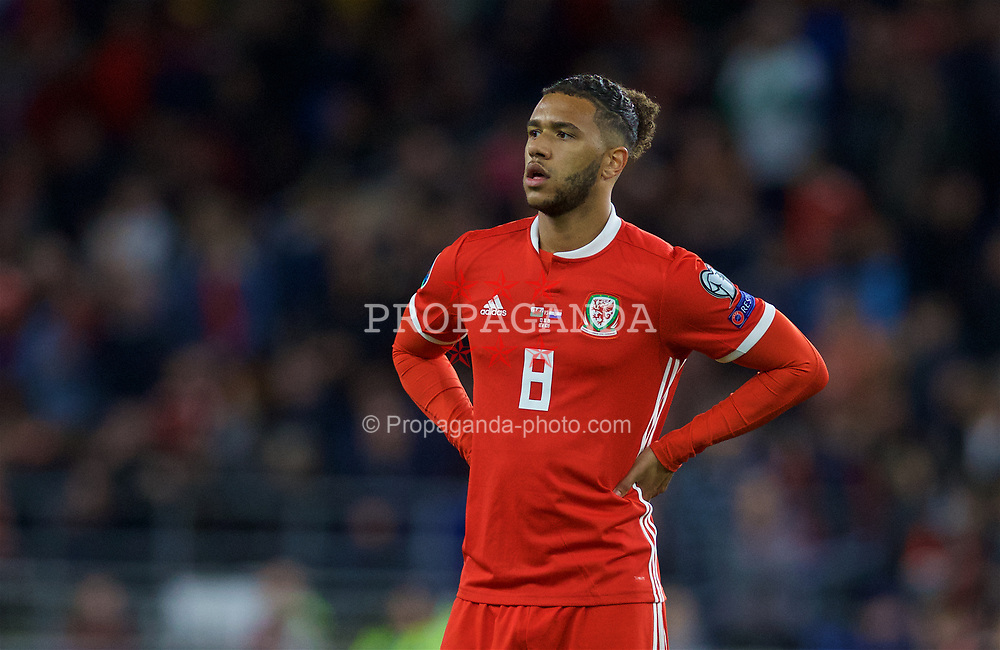 CARDIFF, WALES - Sunday, October 13, 2019: Wales' Tyler Roberts during the UEFA Euro 2020 Qualifying Group E match between Wales and Croatia at the Cardiff City Stadium. (Pic by Laura Malkin/Propaganda)