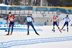 CHALENCON_Anthony, Guide:  VALVERDE_Simon, MODIN Zebastian SWE B1 Guide: ANDERSSON Johannes competing in the ParaSkiDeFond, Para Nordic Skiing, 20km at  the PyeongChang2018 Winter Paralympic Games, South Korea.