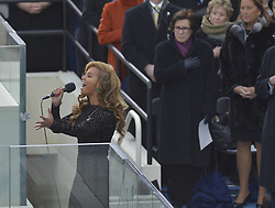 U.S. singer Beyonce sings the National Anthem during the presidential inauguration ceremony on the West Front of the U.S. Capitol in Washington D.C., the United States, January 21, 2013. Photo by Imago / i-Images...UK ONLY