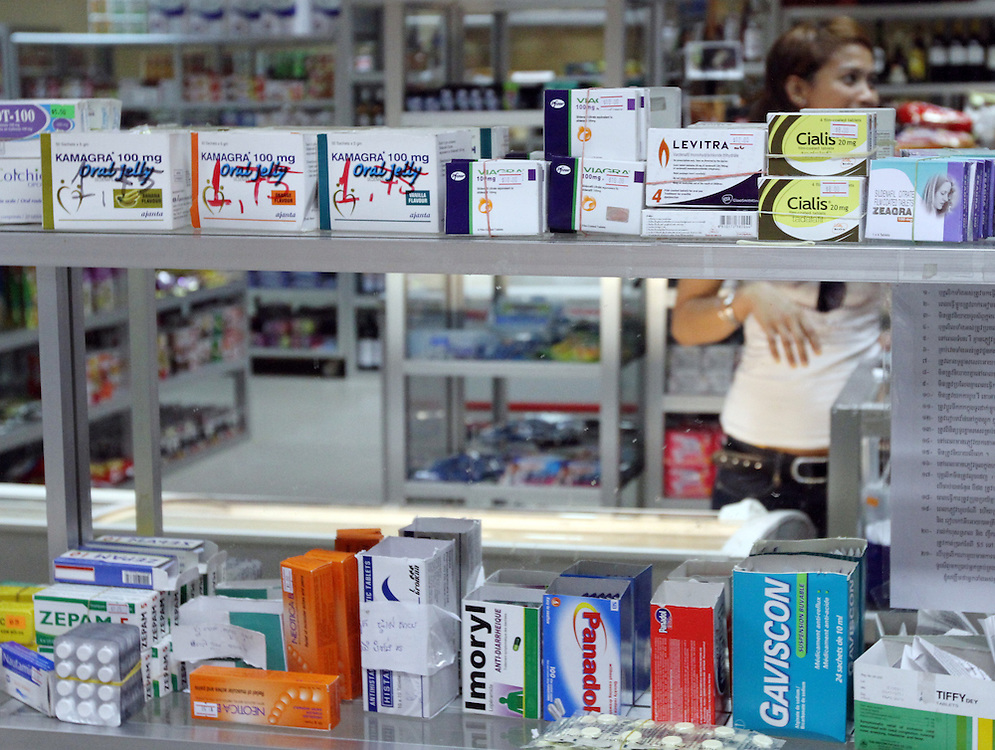 Medicines that are resticted in the West are sold in supermarkets, Phnom Penh, Cambodia, Wednesday, April 11, 2012. Credit: SNPA / Peter Graney.