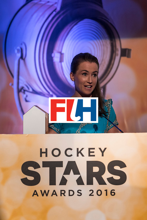 CHANDIGARH, INDIA - FEBRUARY 23: Winner of the FIH Female Goal Keeper of the Year Maddie Hinch of England and Great Britain speaks during the FIH Hockey Stars Awards 2016 at Lalit Hotel on February 23, 2017 in Chandigarh, India. (Photo by Ali Bharmal/Getty Images for FIH)