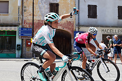 Leah Thomas (USA) has a problem with her radio during Stage 10 of 2019 Giro Rosa Iccrea, a 120 km road race from San Vito al Tagliamento to Udine, Italy on July 14, 2019. Photo by Sean Robinson/velofocus.com