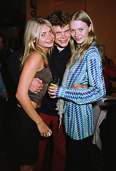 Left to right, MISS JEMMA KIDD, MR JACK KIDD and MISS JODIE KIDD the model,  at a party in London on 24th September 1997.MBN 9